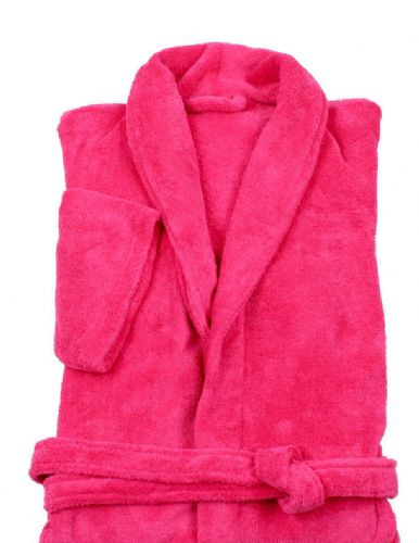 FUSHIA HOT PINK  COLOUR LUXURY FLEECE MICROFIBRE BATH ROBE